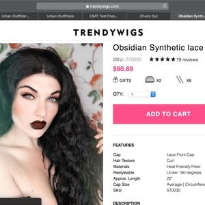 LONG CURLY BLK - Obsidian Synthetic lace front wig